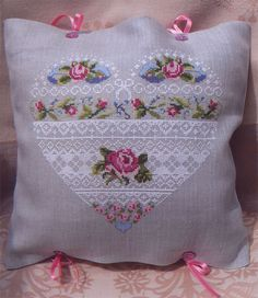 Roses and Lace — French Needlework Kits, Cross Stitch, Embroidery, Sophie Digard — The French Needle Mehr Cross Stitching, Cross Stitch Embroidery, Embroidery Patterns, Cross Stitch Patterns, Cross Stitch Heart, Cross Stitch Flowers, Sewing Crafts, Sewing Projects, Lace Heart