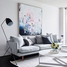 More of our faves from 2016... We love this living space from @becjudd's @thestyleschool featuring an amazing artwork by @michaelbondart. . We have some similar artworks by Michael that are available now, head to the website for the deets! #fentonandfenton #michaelbondart #highlightsof2016 #rebeccajuddloves