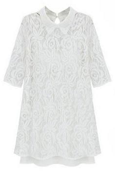 ROMWE | Floral Lace Overlay White Dress, The Latest Street Fashion #ROMWEROCOCO
