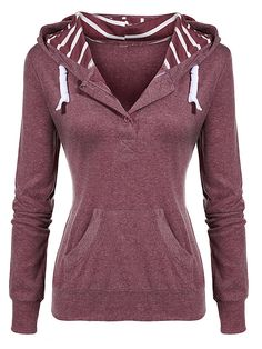 SheIn offers Red Drawstring Hooded Pockets Slim Sweatshirt & more to fit  your fashionable needs.