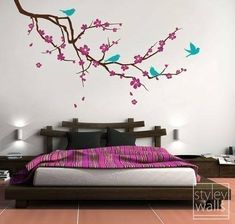 (Please click on the picture to see it in a larger version.) This Extra Large Cherry Blossom decal measures 80 wide by 38.2 high. The decal comes with 4 birds, flowers and with falling leaves, you can arrange them where you want them to be. Please check the measurements provided above to