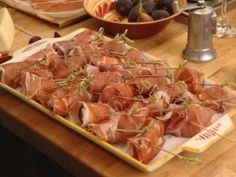 Figs Wrapped in Prosciutto with Gorgonzola and Brie from CookingChannelTV.com Looks simple enough, and delicious! Next dinner party, @Kelley Moriarty-Ganoung ??