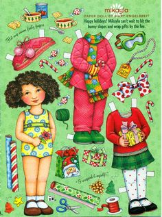 Uncut Paper Doll by Mary Engelbreit Christmas with Mikayla. $3.50, via Etsy.