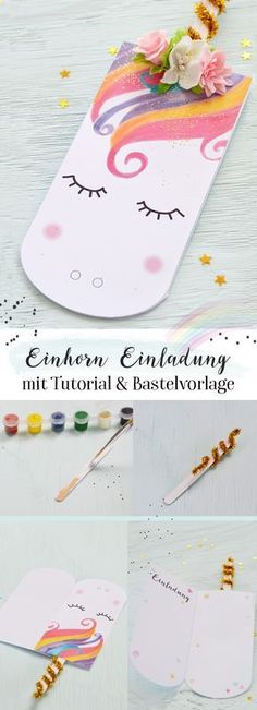 card making ideas for kids Einhorn Einladung selber basteln Party Unicorn, Unicorn Birthday Parties, Diy Birthday, Birthday Cards, Diy For Kids, Gifts For Kids, Unicorn Invitations, Unicorn Crafts, Ideias Diy