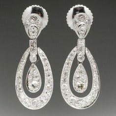 Art Deco Dangle Earrings 3.5 Carat Of Diamond In 925 Sterling Silver For Women's  | eBay