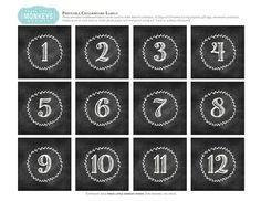 Chalkboard Numbers for Gift Boxes and Advent Calendars by Three Little Monkeys Studio