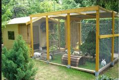 Kaninhus og kaningård som fungerer som en trygg og sikker kaninbolig. Bør utvides med en løpegård som kaninene kan bruke under tilsyn,