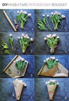 Gather some fresh bouquets with leftover wrapping paper.