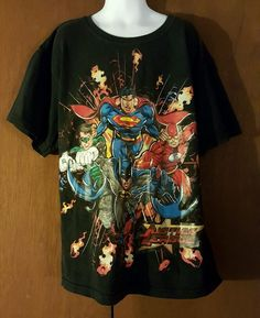 Juniors XXL Justice League DC Comics Black Superman, Flash, Lantern Batman Shirt…