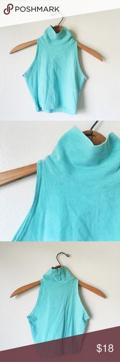 Mermaid blue turtle neck sleeveless top Super cute never used blue top💫 size XS & Small Urban Outfitters Tops Crop Tops