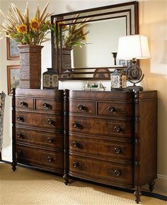 FFDM -- British Colonial on Behance. Great idea to put identical dressers side by side under a big mirror! British Colonial Bedroom, British Colonial Style, French Colonial, West Indies Decor, West Indies Style, Beach Bedroom Decor, Colonial Furniture, Colonial Kitchen, Coastal Bedrooms