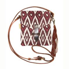 """Cross Body Bag - Fig Ikat Handmade in India.  Handwoven Cotton.  Hand Block Printed.  Fig Ikat Pattern.  Fringe Detail.  Flap Closure with Leather Loop.  45"""" Leather Adjustable Strap. Bags Crossbody Bags"""