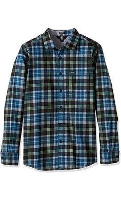 Volcom Men's Hayden Flannel Long Sleeve Shirt, Smokey Blue, M Best Price