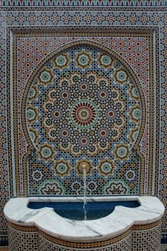 One of the highlights of the renovation was a fountain covered in tiles. One such tiling style is call zillij, a style and pattern of tiling that originated in the middle of the 11th Century.