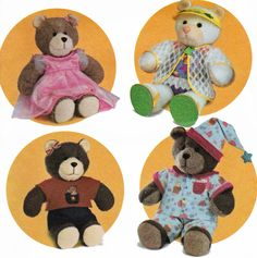 Bear Clothes Pattern Teddy Bear Dress Pattern Bear Pajamas Pattern Swimsuit Pattern for 15 and 18 inch Plush Bears Simplicity 4624 UNCUT by TheOldLeaf on Etsy