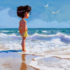 This holiday I went to the beach. And as always the sea was beautiful, blue sky and white sand, but I could not muster the courage to enter… Beach Illustration, Children's Book Illustration, Character Art, Character Design, Color Script, Gabriel, Storyboard, Cartoon Art, Cute Art