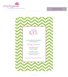 Set the tone for your party with our personalizable SimplyGenie Chevron invitations. Chevron Monogram, For Your Party, Birthday Party Invitations, Kiwi, Envelope, Birthdays, Prints, Anniversaries, Envelopes