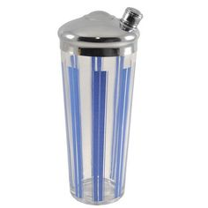 1930s Vintage Blue Striped Glass Cocktail Shaker,