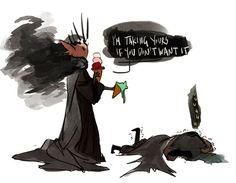 """Just imagine givenclarity: """" superlilith: """" Melkor and Sauron eating ice-creams for the first time… I need a fanart. """" (They didn't have brain freeze in aman) (and bonus dark lady) """" Tolkien Hobbit, Tolkien Books, Lotr, The Hobbit, Das Silmarillion, Cute Funny Cartoons, Morgoth, Fantasy Heroes, Dark Lord"""