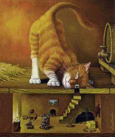 Art of Lowell Herrero -? Cat Mouse, Illustration Art, Illustrations, Cat Colors, Naive Art, Dog Art, Crazy Cats, Cool Cats, Kitsch