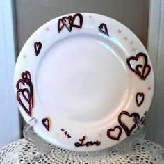 Hand Drawn & Painted Valentine's Day Plate by CountryCrowGifts, $8.00