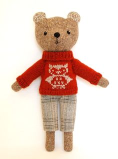 Brown Bear Plush Toy Wool Tweed Interior toy by TweedyLand on Etsy