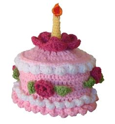 Birthday cake hat with crocheted candle on top Perfect by Rougefox. , via Etsy.