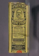 Dr. Guertin's Nerve Syrup  1908-1918  The indications or uses for this product as provided on its packaging:  A valuable remedy for epilepsy, St. Vitus dance, convulsions, hysteria, nervous prostration, insomnia, neurasthenia and disorders of the nervous system
