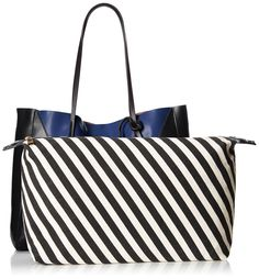 Look at the cute pouch, inside every tote! POVERTY FLATS by rian Shopper V Tote, black/blue
