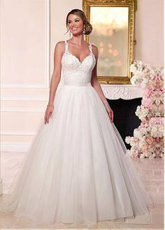 Buy discount Alluring Tulle V-neck Neckline 2 in 1 Wedding Dresses with Lace Appliques at Dressilyme.com