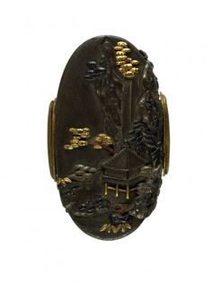 Kashira with Mountain Landscape and Waterfall-      Naoyoshi (Japanese) (Artist)  18th century (Edo) shibuichi, gold, silver, copper, sentoku (Arms & Armor)