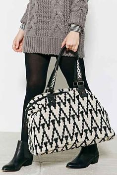 Ecote Woven Texture Weekender Bag