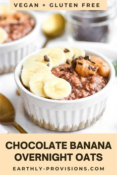 This easy recipe for Chocolate Banana Overnight Oats is the best vegan breakfast recipe! They're naturally sweetened but taste like dessert. Plus, they're gluten free and they've got a good dose of protein and fiber to fuel you through your morning. Best Vegan Breakfast, Savory Breakfast, Vegan Breakfast Recipes, Vegan Snacks, Brunch Recipes, Breakfast Ideas, So Delicious Coconut Milk, Delicious Vegan Recipes, Vegan Oatmeal