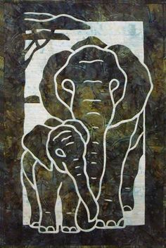 Elephants 2 Fabric Applique Quilt pattern