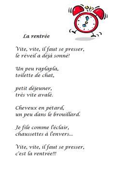 Poésie La rentrée de Sylvie Poillevé : Vite, vite, il faut se presser, le réveil a déjà sonné ! Un peu raplapla, toilette de chat, petit déjeuner, très vite avalé