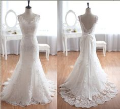 Taffeta Lace Wedding Dress Mermaid Bridal Gown.... Might as well pin some backless dresses for you as I come across them