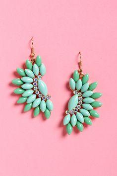 Pretty Turquoise Earrings - Rhinestone Earrings - Dangle Earrings - $14.00