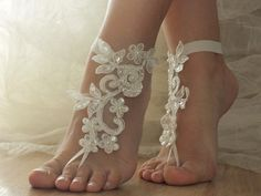 ivory Beach wedding barefoot sandals from Weddinggloves by DaWanda.com Discounts in this shop 20% discount on orders over 18.63 $ US Nov 24, 2014 - Dec 03, 2014 Only redeemable once per user XMAS1