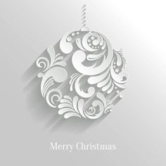 Free Vector Beautiful artistic art work 3d Christmas floral art ball invitation card template