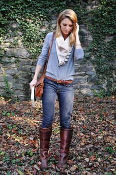 I love the Frye Paige Tall Riding Boot in Cognac and Vintage Coach Tan Leather Bag.