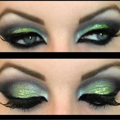 Be exotic with this glittery lime green Arabic look. Cut your crease and wing it out to bring extra drama to your eyes.