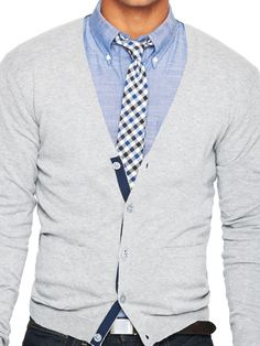 Love the chambray whether paired like this with a cardigan or by itself. Whatsyoursignature.com Launching Feb 2013
