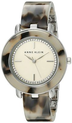 ea82089e5ac Amazon.com  Anne Klein Women s AK 1973CMGY Glitter Accented Silver-Tone and  Grey Tortoise Resin Bangle Watch  Watches