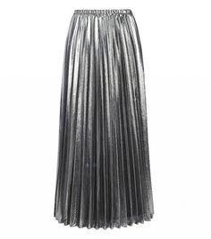 Joanna Hope Foil Pleated Maxi Skirt