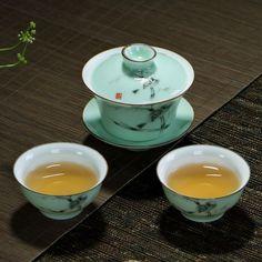 3pcs1 Gaiwan+2 tea cups porcelain teacups teapot made in China Longquan celadon #Handmade