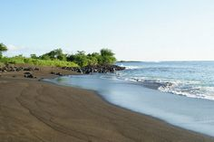 Black sand beach in the Galapagos Islands