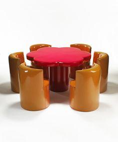 "design-is-fine: ""Giuseppe Raimondi & Ugo Nespolo, Margherita table and chairs, For Gufram, Italy. Via aisdesign "" Furniture Decor, Furniture Design, Dream Furniture, Retro Furniture, Retro Interior Design, Lighting Logo, Style Deco, Dream Apartment, Aesthetic Room Decor"