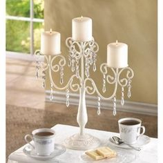 Amazon.com - Gifts & Decor Ivory Candelabra Wedding Gift Centerpiece Candle Holder - Table Chandeliers