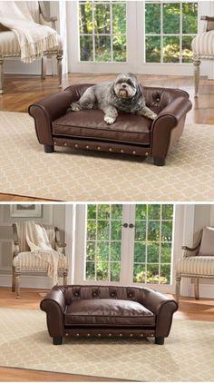 Brinkmann Pet Home Decor Distressed Faux Leather Pet Sofa Bed 29