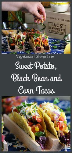 Sweet Potato, Black Bean and Corn Tacos, vegetarian and gluten free